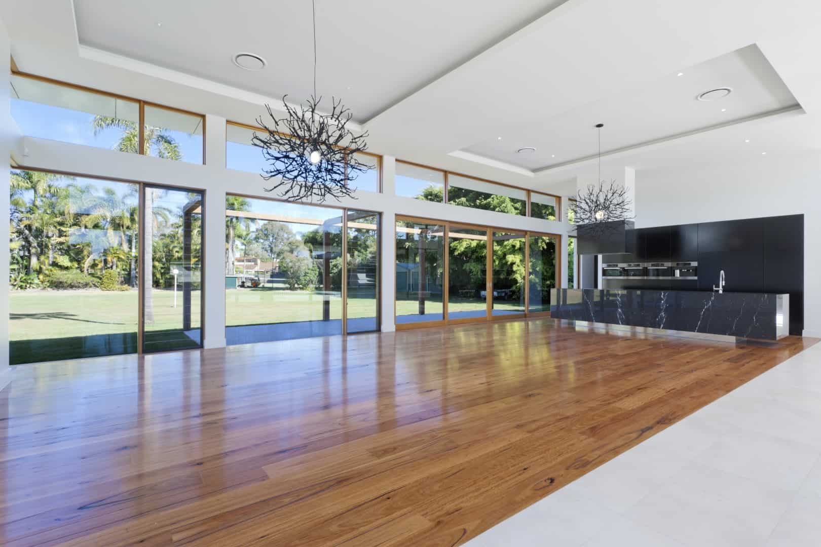 Polished timber flooring
